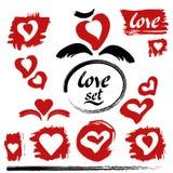 Διάνυσμα καρδιών Σύνολο αγάπης συρμένο σχέδιο χέρι στοιχ&eps Στοκ Εικόνες
