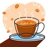 Διάνυσμα καφέ με το άσπρο υπόβαθρο γραφικό για την απεικόνιση Στοκ Εικόνες