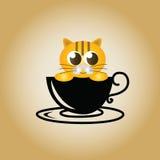 Διάνυσμα καφέ λογότυπων γατών Στοκ εικόνα με δικαίωμα ελεύθερης χρήσης