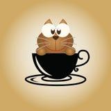 Διάνυσμα καφέ λογότυπων γατών Στοκ Εικόνες