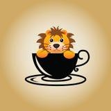 Διάνυσμα καφέ λογότυπων λιονταριών Στοκ φωτογραφίες με δικαίωμα ελεύθερης χρήσης