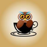 Διάνυσμα καφέ λογότυπων κουκουβαγιών Στοκ Εικόνες