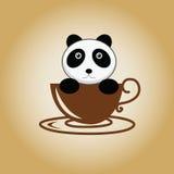 Διάνυσμα καφέ λογότυπων της Panda Στοκ Φωτογραφία