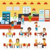 Διάνυσμα καφετερίων, άνθρωποι στην καντίνα, άνθρωποι που στην καφετέρια Το εστιατόριο και η καντίνα τομέα εστιάσεως μαγείρεψαν πρ απεικόνιση αποθεμάτων