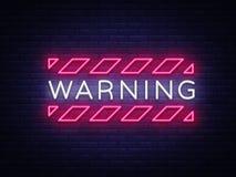 Διάνυσμα κειμένων νέου προειδοποίησης Σημάδι νέου ζώνης κινδύνου, πρότυπο σχεδίου, σύγχρονο σχέδιο τάσης, πινακίδα νέου νύχτας, ν Διανυσματική απεικόνιση