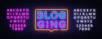 Διάνυσμα κειμένων νέου Blog Σημάδι νέου Blogging, πρότυπο σχεδίου, σύγχρονο σχέδιο τάσης, πινακίδα νύχτας, νύχτα φωτεινή απεικόνιση αποθεμάτων