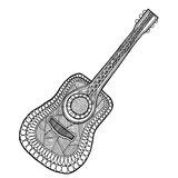 Διάνυσμα κιθάρων, σύγχυση κιθάρων zen και zen doodle χρωματισμός κιθάρων μαύρο λευκό Στοκ Εικόνες