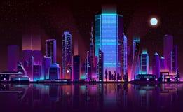 Διάνυσμα κινούμενων σχεδίων χρώματος νέου οριζόντων νύχτας μητροπόλεων ελεύθερη απεικόνιση δικαιώματος