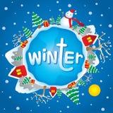 Διάνυσμα κινούμενων σχεδίων θέματος χειμερινών Χριστουγέννων Στοκ Εικόνα