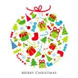 Διάνυσμα κινούμενων σχεδίων διακοσμήσεων δώρων Χαρούμενα Χριστούγεννας ελεύθερη απεικόνιση δικαιώματος
