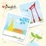 Διάνυσμα κινούμενων σχεδίων ναών ταξιδιού ορόσημων θέσεων της Μπανγκόκ Ταϊλάνδη απεικόνιση αποθεμάτων