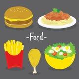 Διάνυσμα κινούμενων σχεδίων τροφίμων σαλάτας ντοματών μακαρονιών κοτόπουλου τηγανιτών πατατών χάμπουργκερ Στοκ φωτογραφίες με δικαίωμα ελεύθερης χρήσης