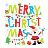 Διάνυσμα κινούμενων σχεδίων Χαρούμενα Χριστούγεννας Στοκ εικόνες με δικαίωμα ελεύθερης χρήσης
