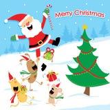 Διάνυσμα κινούμενων σχεδίων Χαρούμενα Χριστούγεννας Στοκ Εικόνα