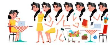 Διάνυσμα κοριτσιών εφήβων Σύνολο δημιουργιών ζωτικότητας Συγκινήσεις προσώπου, χειρονομίες Πρόσωπο Παιδιά ζωντανός Για τη διαφήμι ελεύθερη απεικόνιση δικαιώματος