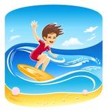 διάνυσμα κοριτσιών surfer ελεύθερη απεικόνιση δικαιώματος