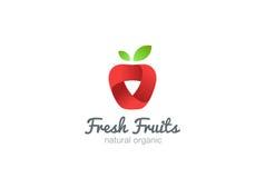 Διάνυσμα κορδελλών λογότυπων της Apple Χυμός ιδέας νωπών καρπών Στοκ Φωτογραφία
