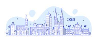Διάνυσμα κτηρίων πόλεων της Κροατίας οριζόντων του Ζάγκρεμπ Στοκ φωτογραφία με δικαίωμα ελεύθερης χρήσης