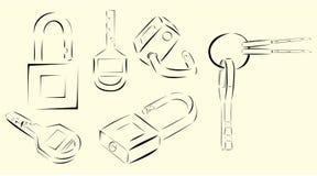 Διάνυσμα κλειδιών και κούτσουρων γραφικό Στοκ Φωτογραφίες