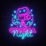 Διάνυσμα λογότυπων νέου νύχτας κινηματογράφων Σημάδι νέου νύχτας κινηματογράφων, πρότυπο σχεδίου, σύγχρονο σχέδιο τάσης, πινακίδα ελεύθερη απεικόνιση δικαιώματος