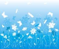 διάνυσμα λουλουδιών πεταλούδων ανασκόπησης Στοκ Εικόνες