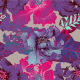 διάνυσμα Λουλούδια φαντασίας - διακοσμητική σύνθεση Λουλούδια με τα μακριά πέταλα ταπετσαρία πρότυπα άνευ ραφής διανυσματική απεικόνιση
