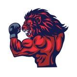 Διάνυσμα μασκότ μαχητών λιονταριών απεικόνιση αποθεμάτων