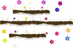 Διάνυσμα με το έδαφος με τις ρίζες, χλόη με τα λουλούδια Στοκ φωτογραφίες με δικαίωμα ελεύθερης χρήσης