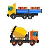 Διάνυσμα μηχανών εξοπλισμού βιομηχανίας τσιμέντου συγκεκριμένων αναμικτών και tipper φορτηγών απεικόνιση αποθεμάτων