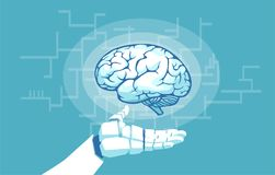 Διάνυσμα μιας εκμετάλλευσης χεριών ρομπότ που εξετάζει τον ανθρώπινο εγκέφαλο διανυσματική απεικόνιση