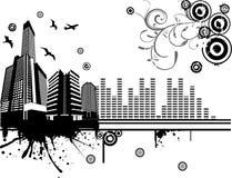 διάνυσμα μουσικής απεικόνισης πόλεων Στοκ φωτογραφία με δικαίωμα ελεύθερης χρήσης
