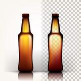 Διάνυσμα μπουκαλιών μπύρας Κενό γυαλί για την μπύρα τεχνών Κενό πρότυπο προτύπων αδελφών τρισδιάστατος διαφανής απομονωμένος ρεαλ απεικόνιση αποθεμάτων