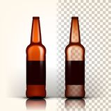 Διάνυσμα μπουκαλιών μπύρας Συσκευασία προϊόντων αδελφών Διαφήμιση σχεδίου τρισδιάστατη διαφανής απομονωμένη ρεαλιστική απεικόνιση διανυσματική απεικόνιση