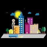 Διάνυσμα νύχτας εικονικής παράστασης πόλης με τη πανσέληνο, τα σύννεφα και το αστέρι απεικόνιση αποθεμάτων