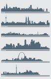 διάνυσμα οριζόντων εικονικής παράστασης πόλης διανυσματική απεικόνιση