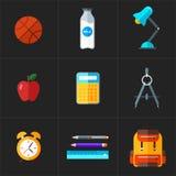 Διάνυσμα πίσω στα σχολικά εικονίδια καθορισμένα Αντικείμενο εκπαίδευσης στο επίπεδο ύφος Στοκ εικόνα με δικαίωμα ελεύθερης χρήσης