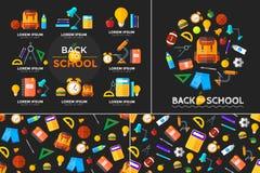 Διάνυσμα πίσω στα σχολικά εικονίδια καθορισμένα Κατάλληλος για τα εμβλήματα, το μέσο εκτύπωσης και το σχέδιο Ιστού Στοκ Εικόνες