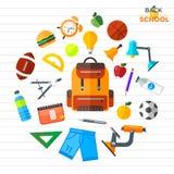 Διάνυσμα πίσω στα σχολικά εικονίδια καθορισμένα Κατάλληλος για τα εμβλήματα, το μέσο εκτύπωσης και το σχέδιο Ιστού Στοκ Φωτογραφίες