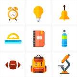 Διάνυσμα πίσω στα σχολικά εικονίδια καθορισμένα Κατάλληλος για τα εμβλήματα, το μέσο εκτύπωσης και το σχέδιο Ιστού Στοκ φωτογραφίες με δικαίωμα ελεύθερης χρήσης