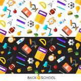 Διάνυσμα πίσω στα σχολικά εικονίδια καθορισμένα Κατάλληλος για τα εμβλήματα, το μέσο εκτύπωσης και το σχέδιο Ιστού Στοκ εικόνα με δικαίωμα ελεύθερης χρήσης