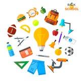 Διάνυσμα πίσω στα σχολικά εικονίδια καθορισμένα Κατάλληλος για τα εμβλήματα, το μέσο εκτύπωσης και το σχέδιο Ιστού Στοκ Εικόνα