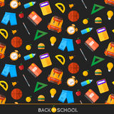 Διάνυσμα πίσω στα σχολικά εικονίδια καθορισμένα Κατάλληλος για τα εμβλήματα, το μέσο εκτύπωσης και το σχέδιο Ιστού Στοκ εικόνες με δικαίωμα ελεύθερης χρήσης