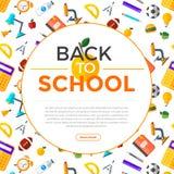 Διάνυσμα πίσω στα σχολικά εικονίδια καθορισμένα Κατάλληλος για τα εμβλήματα, το μέσο εκτύπωσης και το σχέδιο Ιστού Στοκ φωτογραφία με δικαίωμα ελεύθερης χρήσης