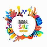 Διάνυσμα πίσω στο έμβλημα σχολικής πώλησης, πρότυπο αφισών Πλαίσιο της Apple με τα φύλλα κλίσεων χρώματος, μολύβια, ρολόι, σακίδι Απεικόνιση αποθεμάτων