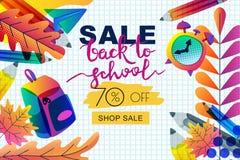 Διάνυσμα πίσω στο έμβλημα σχολικής πώλησης, πρότυπο αφισών Φύλλα κλίσεων χρώματος, μολύβια, ρολόι, σακίδιο πλάτης στο υπόβαθρο εγ Διανυσματική απεικόνιση