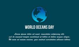 Διάνυσμα παγκόσμιας ωκεάνιο ημέρας υποβάθρου επίπεδο Στοκ Φωτογραφία