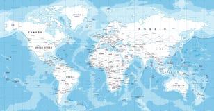 Διάνυσμα παγκόσμιων χαρτών Λεπτομερής απεικόνιση του worldmap Στοκ Φωτογραφία