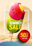Διάνυσμα παγωτού θερινής πώλησης απεικόνιση αποθεμάτων