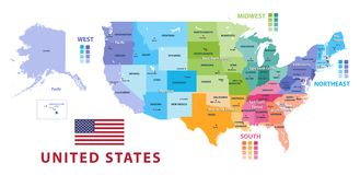 Διάνυσμα περιοχών και τμημάτων Ηνωμένων Υπηρεσιών Απογραφών ελεύθερη απεικόνιση δικαιώματος