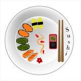 Διάνυσμα, πιάτο σουσιών, φρέσκα τρόφιμα, σολομός, φύκι, σούσια αυγοτάραχων, γλυκά αυγά διανυσματική απεικόνιση